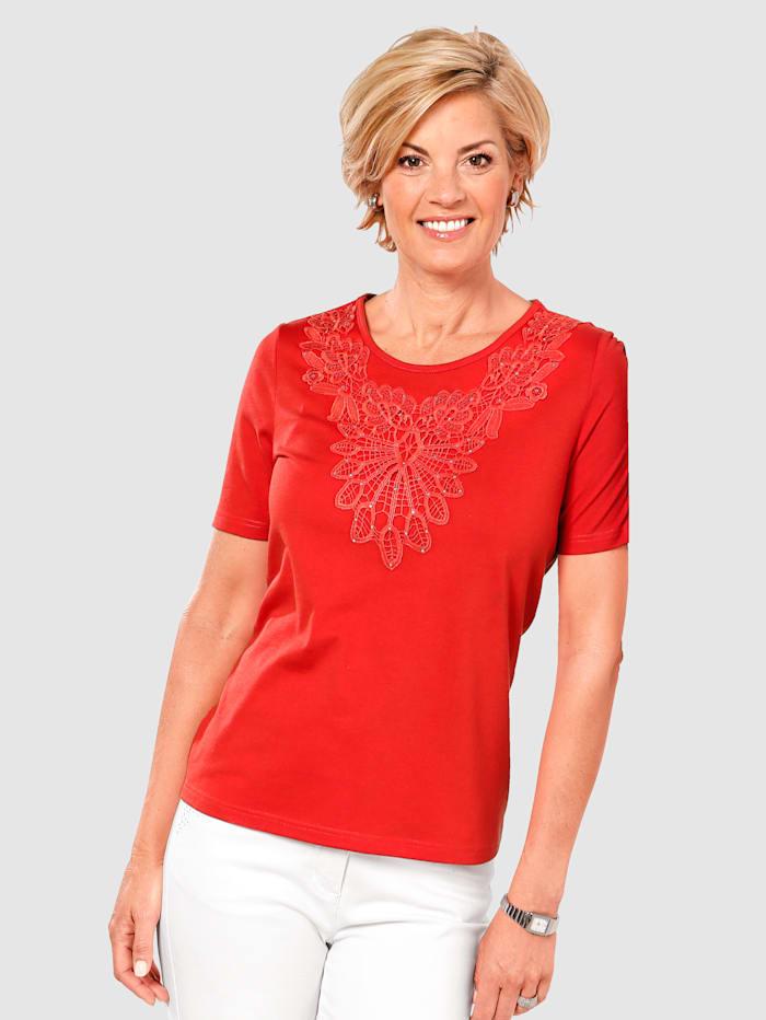 Paola Shirt mit Spitze, Rot