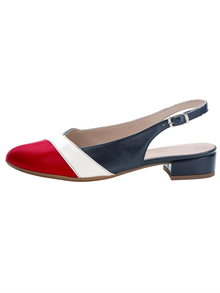 Slingback shoes in complementary colours
