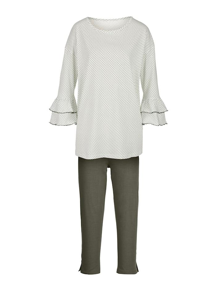 Simone Pyjama met modieuze volantmouwen, Wit/Kaki