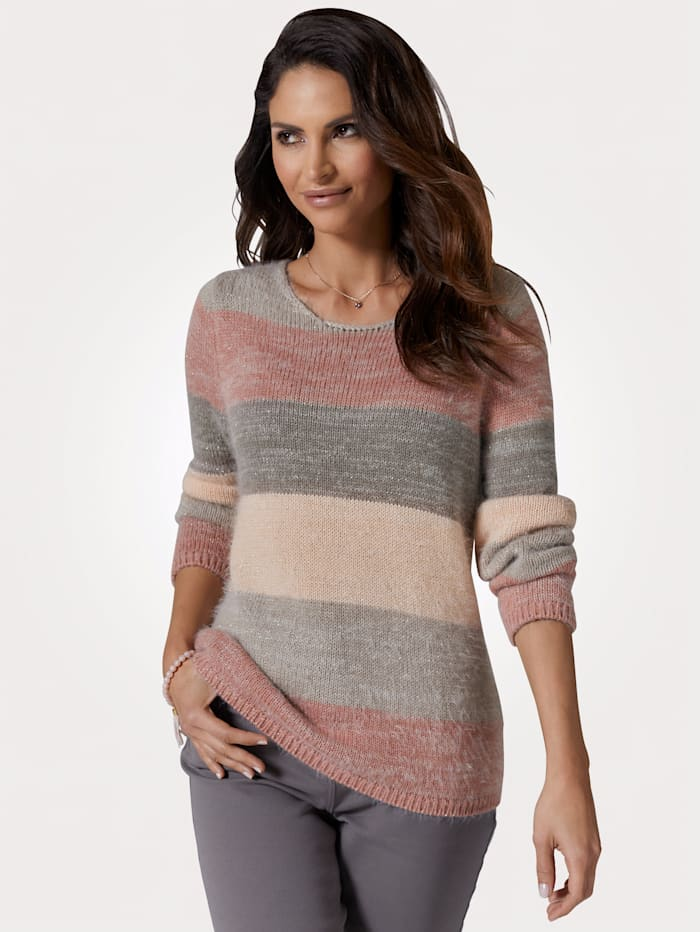 MONA Jumper in a fluffy yarn, Rosé/Grey/Peach