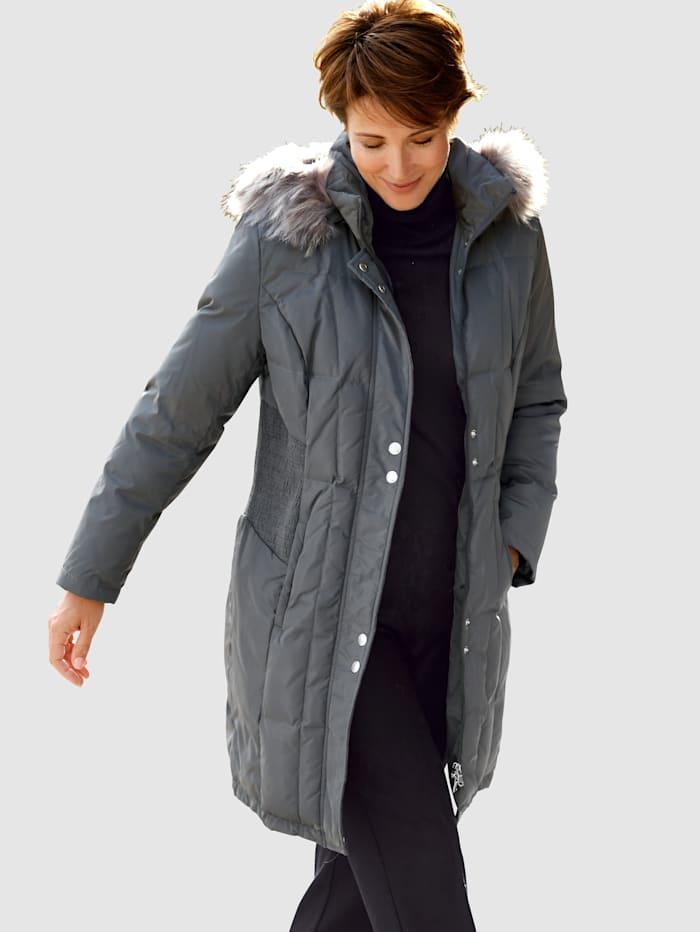 Laura Kent Péřový kabát s kožešinou, Antracitová