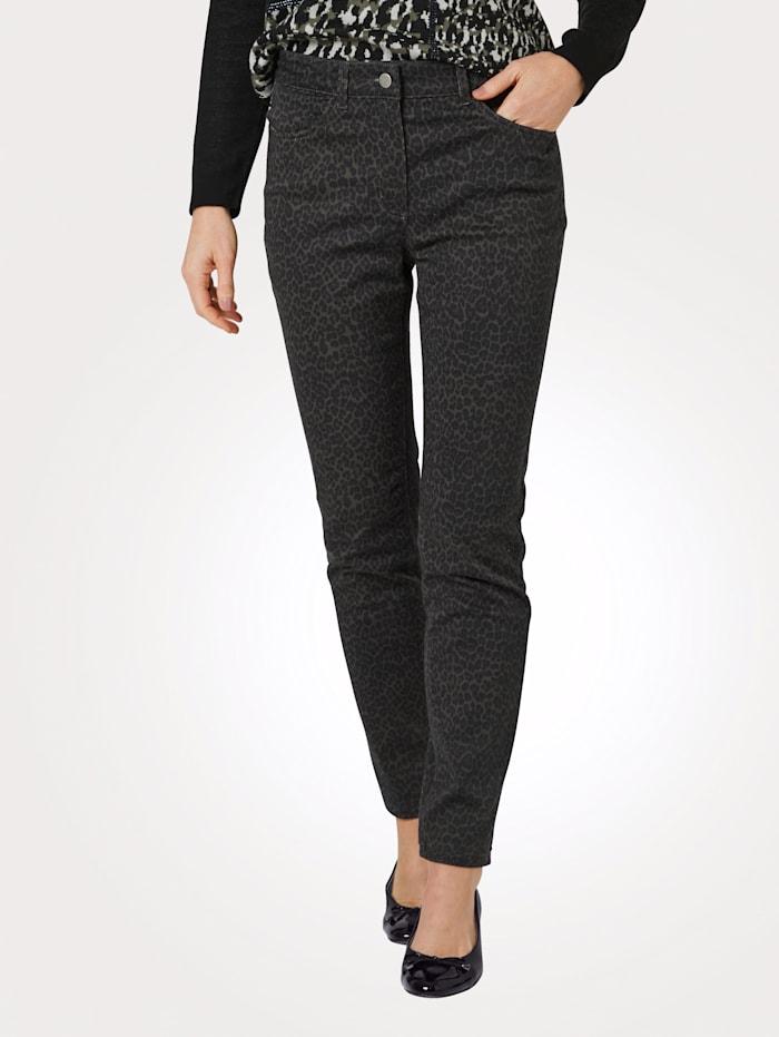 MONA Pantalon à motif animalier tendance, Olive/Noir