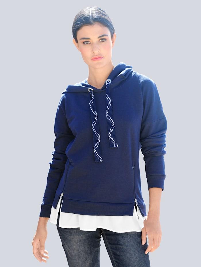 Alba Moda Sweatshirt in 2- in - 1 Optik, Marineblau/Weiß