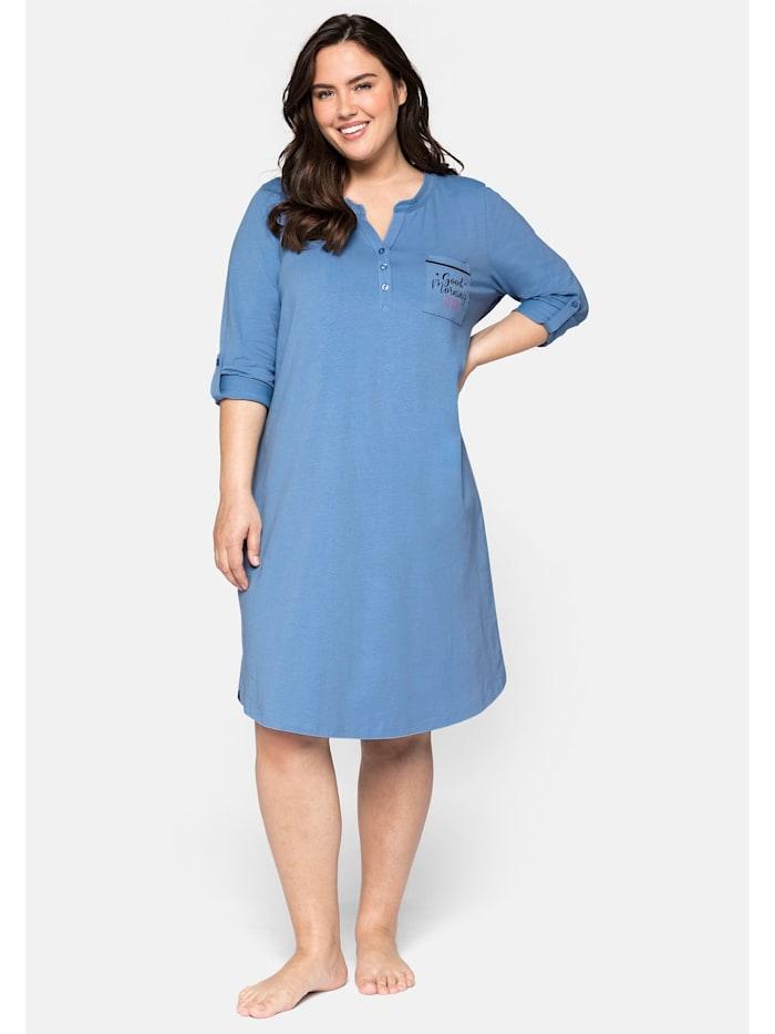 Sheego Nachthemd mit Knopfleiste und Krempelriegel, jeansblau