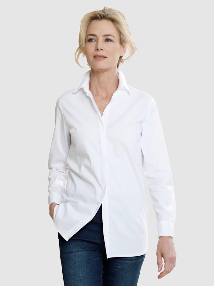 Laura Kent Longbluse mit verdeckter Knopfleiste, Weiß