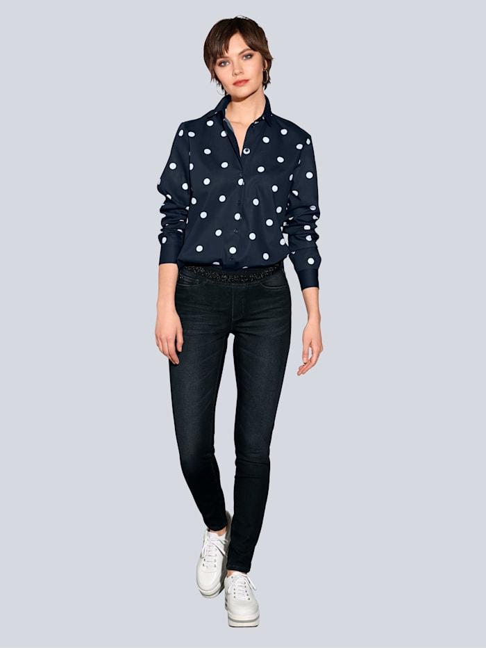 CAMBIO Jeans mit elastischem Glitzerbund, Dark blue