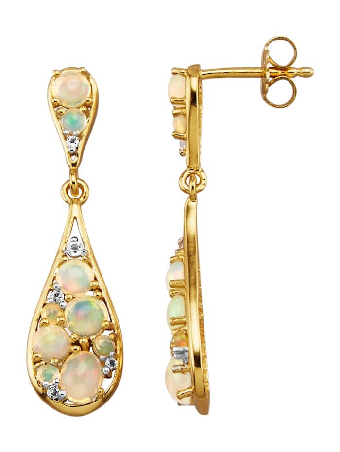 Boucles d'oreilles avec opales et topazes blanches, Blanc