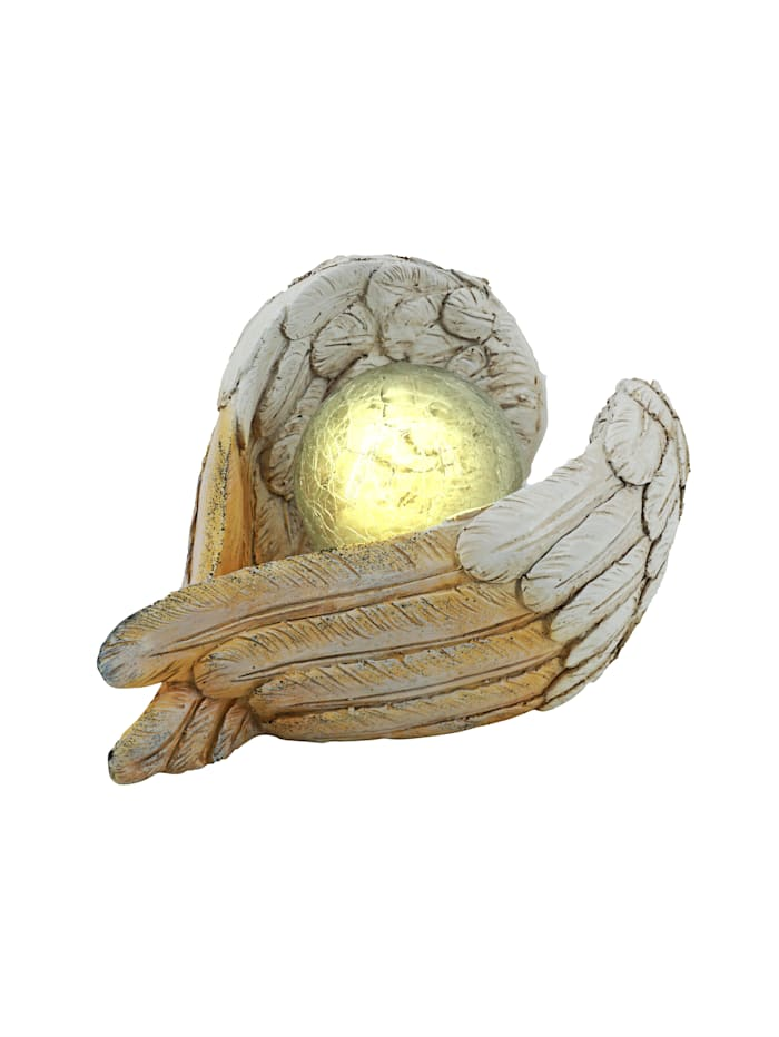 Solcellsdekoration – änglavingar, naturvit/beige