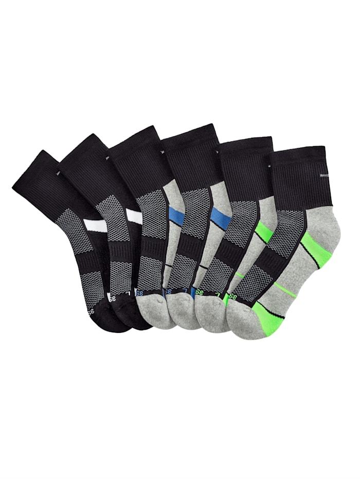Blue Moon Sneakersocken 6er Pack, 2x schwarz/weiß, 2x schwarz/royalblau, 2x schwarz/grün