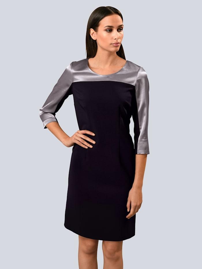 Alba Moda Kleid mit Schulterpasse aus edler, satinierter Ware, Schwarz/Grau