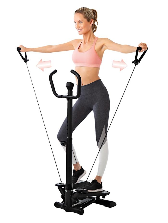 Vitalmaxx Entraîneur fitness 'Swing Stepper' avec deux bandes extensibles, Noir