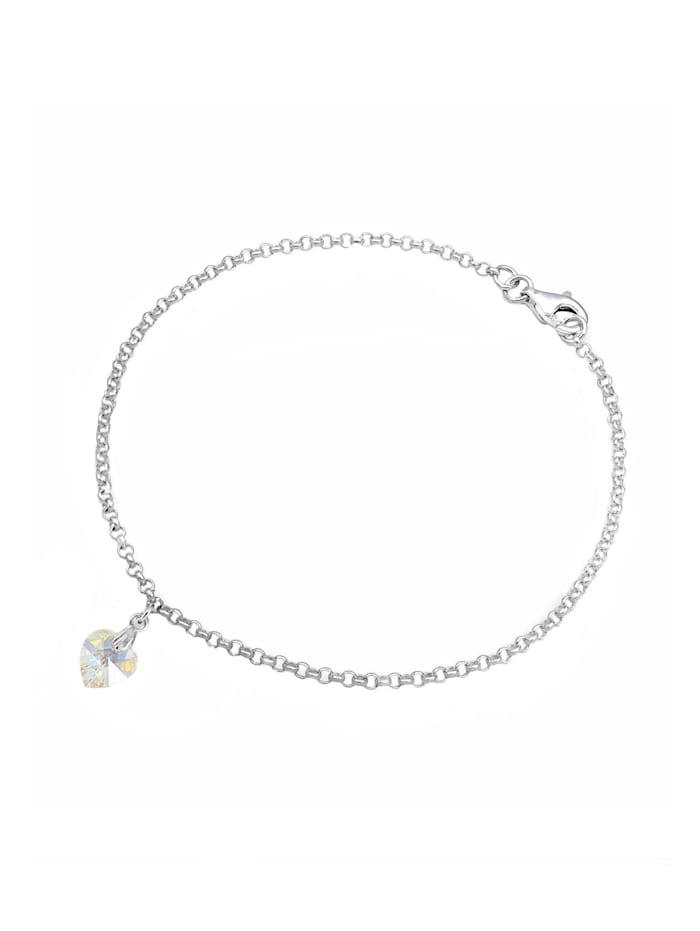 Elli Armband Herz Kristalle 925 Sterling Silber, Weiß