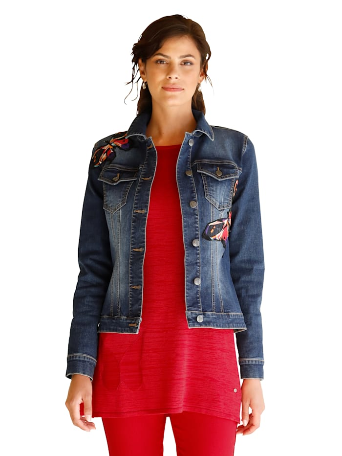 Jeansjacke mit Schmetterling-Patches