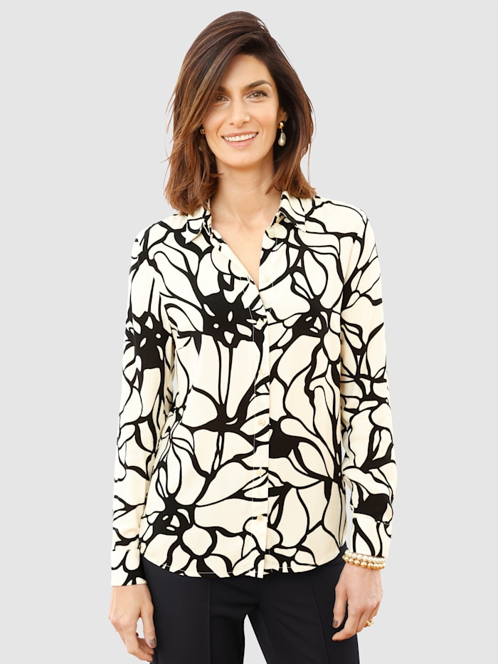 MONA Bluse mit floralem Muster, Ecru/Schwarz