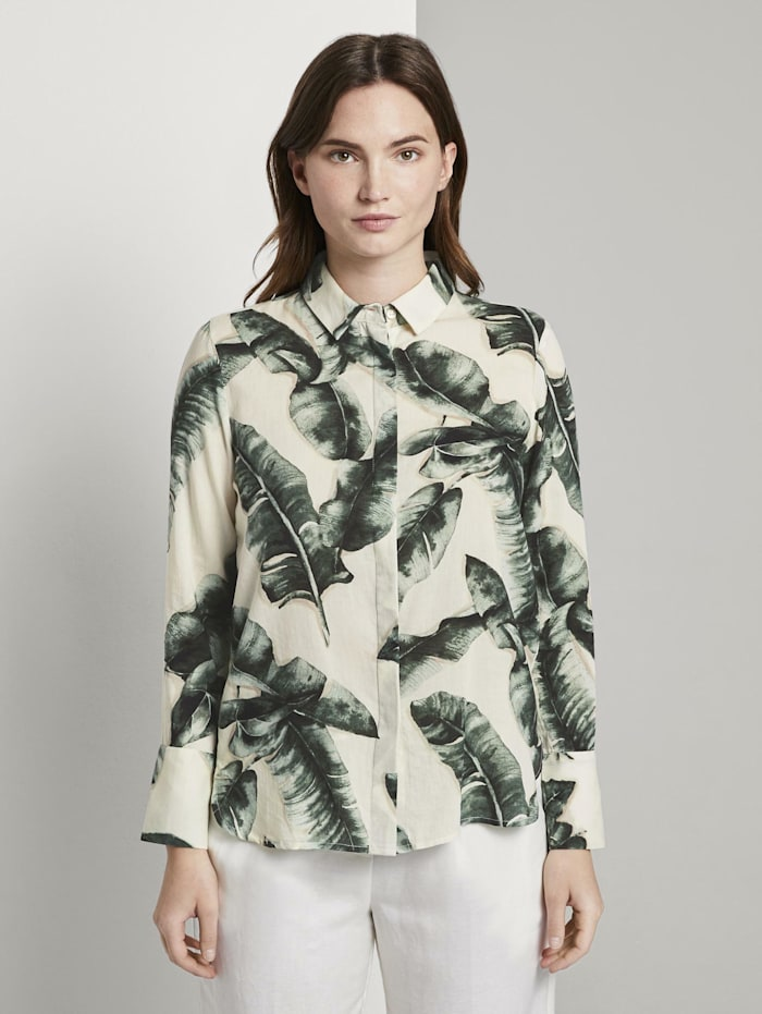 Tom Tailor mine to five Bluse mit Palmenprint aus Lyocell, ecru tropical leaves design