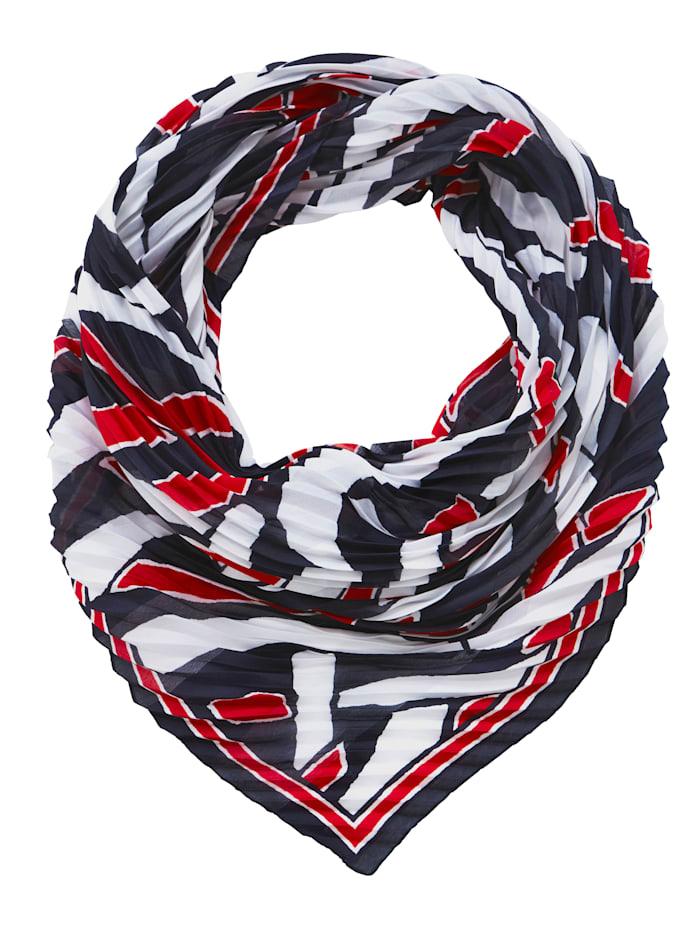 Laura Kent Sjal med trendigt mönster, marinblå/röd