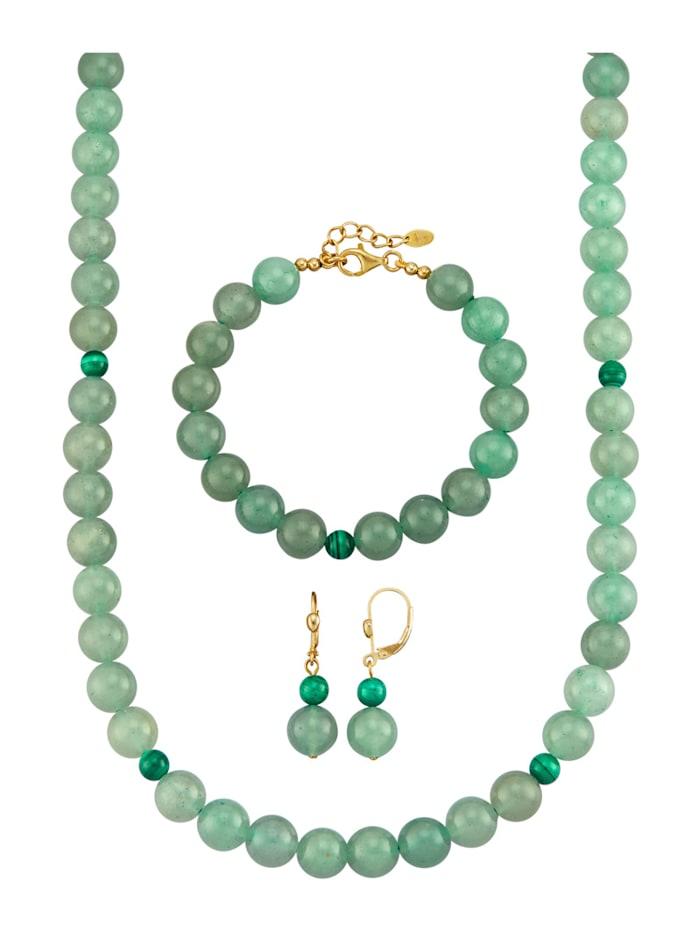 Amara Pierres colorées Parure bijoux 3 pièces en aventurine, Vert