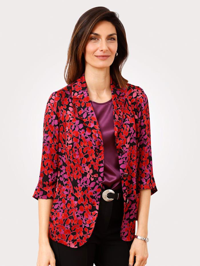 MONA Blazer met gebloemd ausbrennermateriaal, Rood/Paars/Zwart