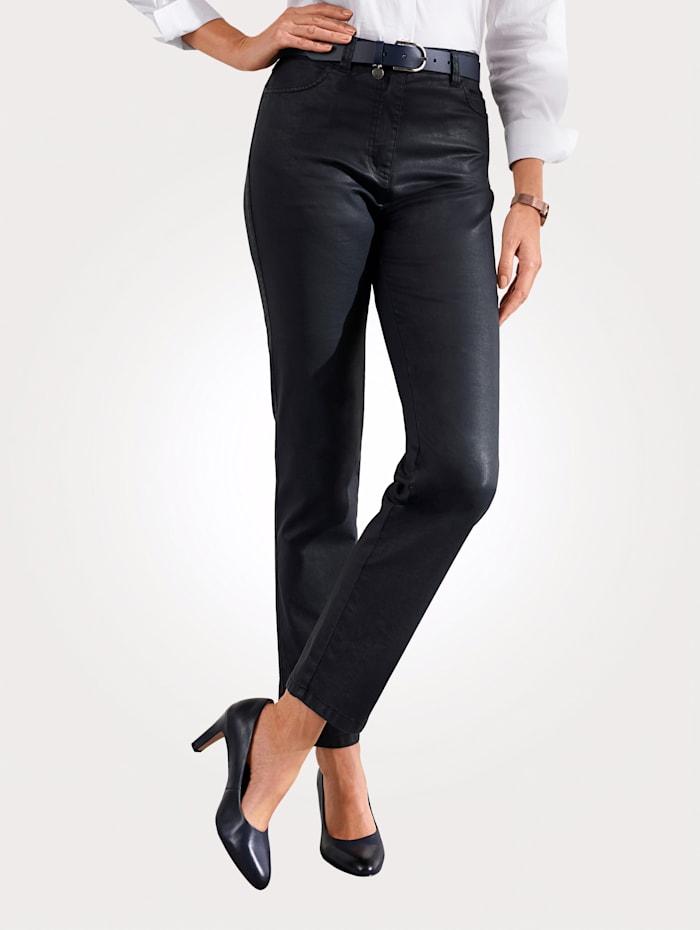 Toni Pantalon 5 poches en cuir synthétique, Marine