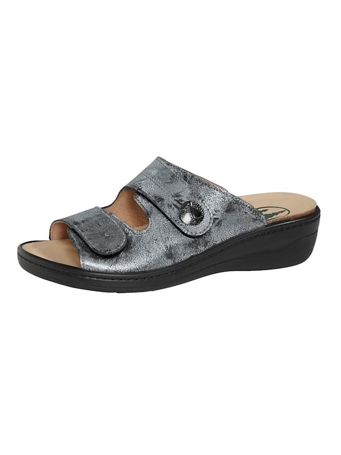 Franken Schuhe Pantolette Korkfußbett mit Moosschaumeinlage, Silberfarben