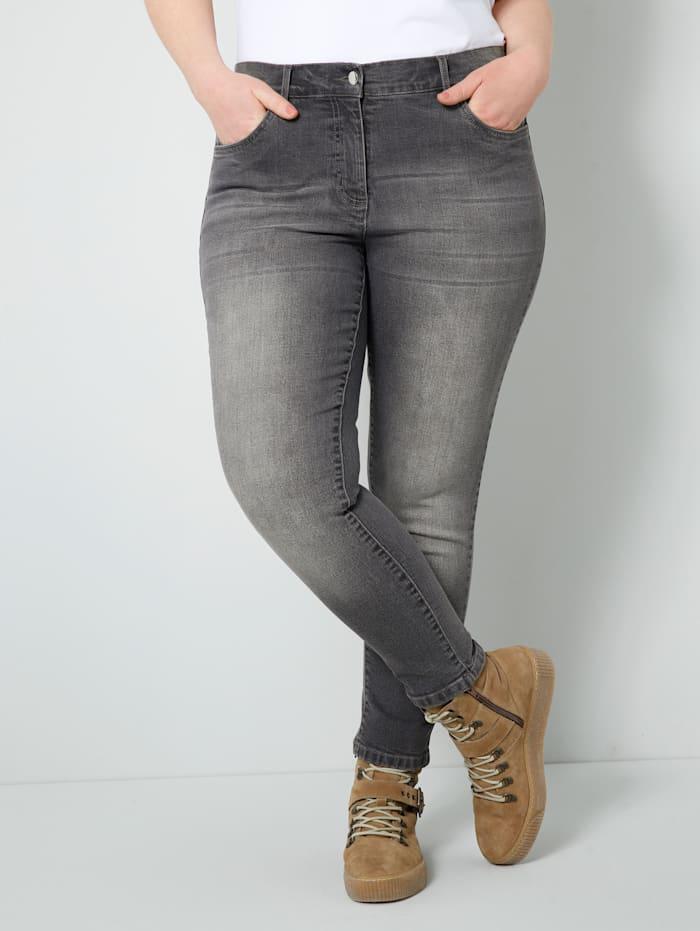 Sara Lindholm Jeans in trendy enkellang model, Grijs