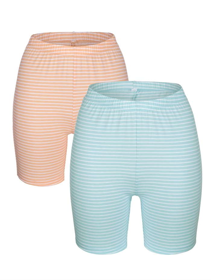 Blue Moon Lange boxershorts met ingebreide strepen, Turquoise/Apricot/Wit