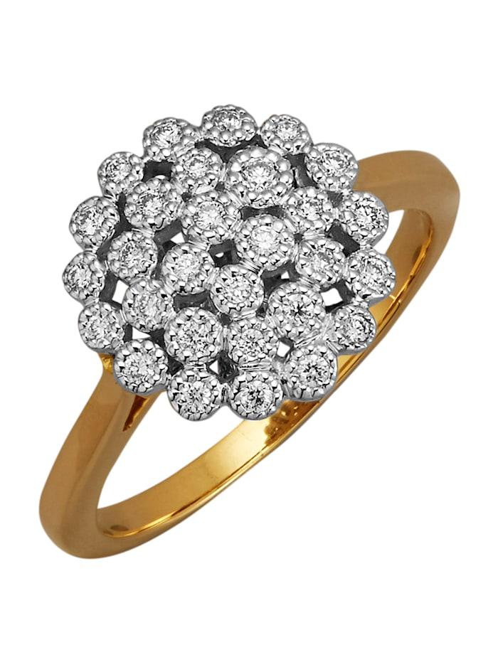 Diemer Diamant Damenring in Gelbgold 585, Weiß