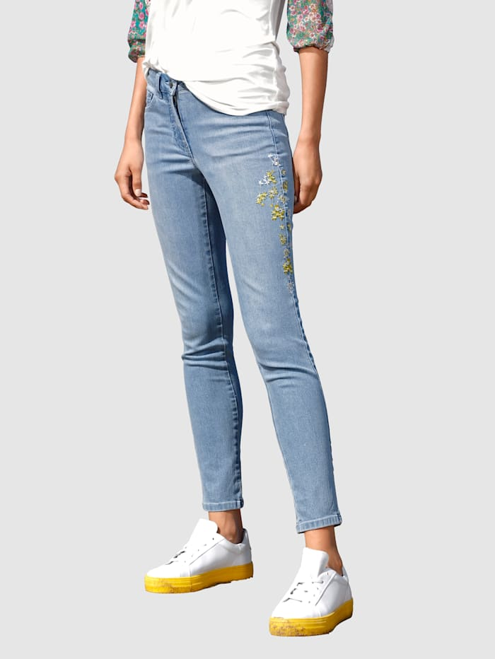 AMY VERMONT Jeans mit Blüten-Stickerei, Light blue