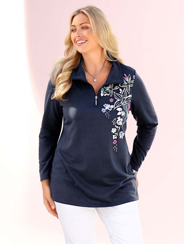 m. collection Sweatshirt mit hübschem Blüten-Druckmotiv im Vorderteil, Marineblau/Fuchsia
