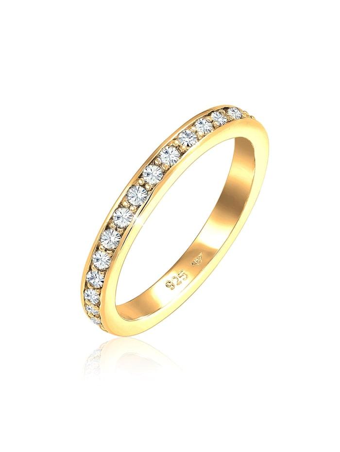 Elli Ring Glamourös Kristalle 925 Sterling Silber, Gold