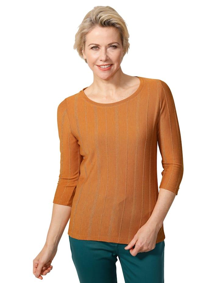 MONA Shirt in Feinstrick-Qualität, Hellorange/Goldfarben