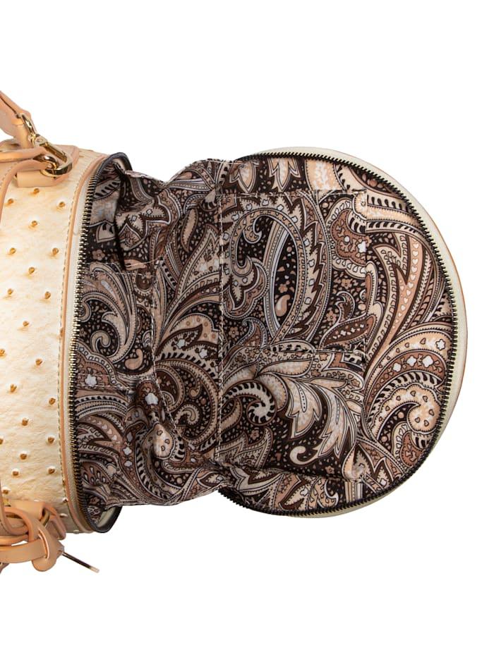 Emma & Kelly Handtasche mit Straußenprägung, creme/beige