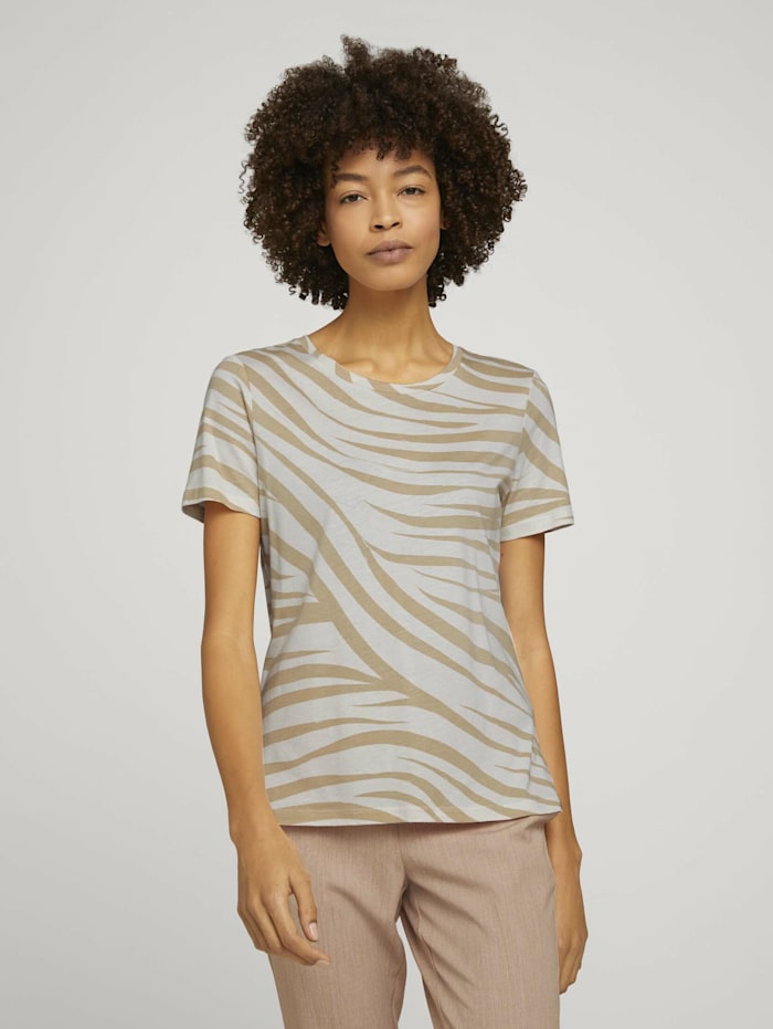 Tom Tailor mine to five T-Shirt im Zebra-Muster, ecru zebra design