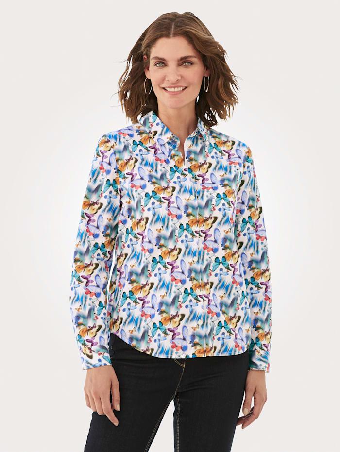 MONA Bluse aus reiner Baumwolle, Weiß/Rot/Blau