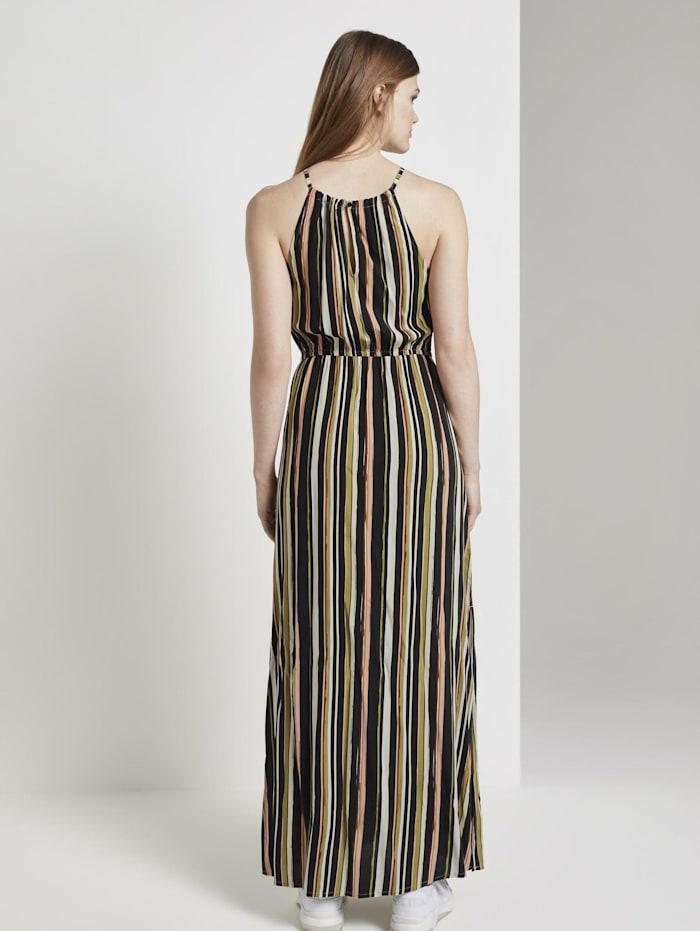 Gestreiftes Neckholder-Kleid in Maxi-Länge