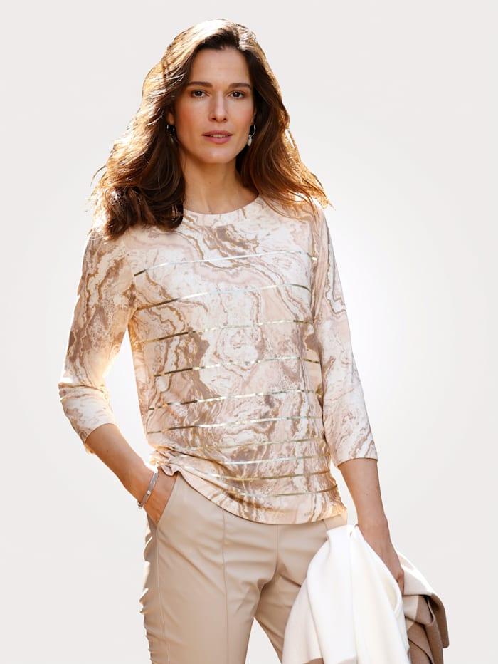 MONA Shirt effektvollem Foliendruck, Kitt/Taupe/Goldfarben