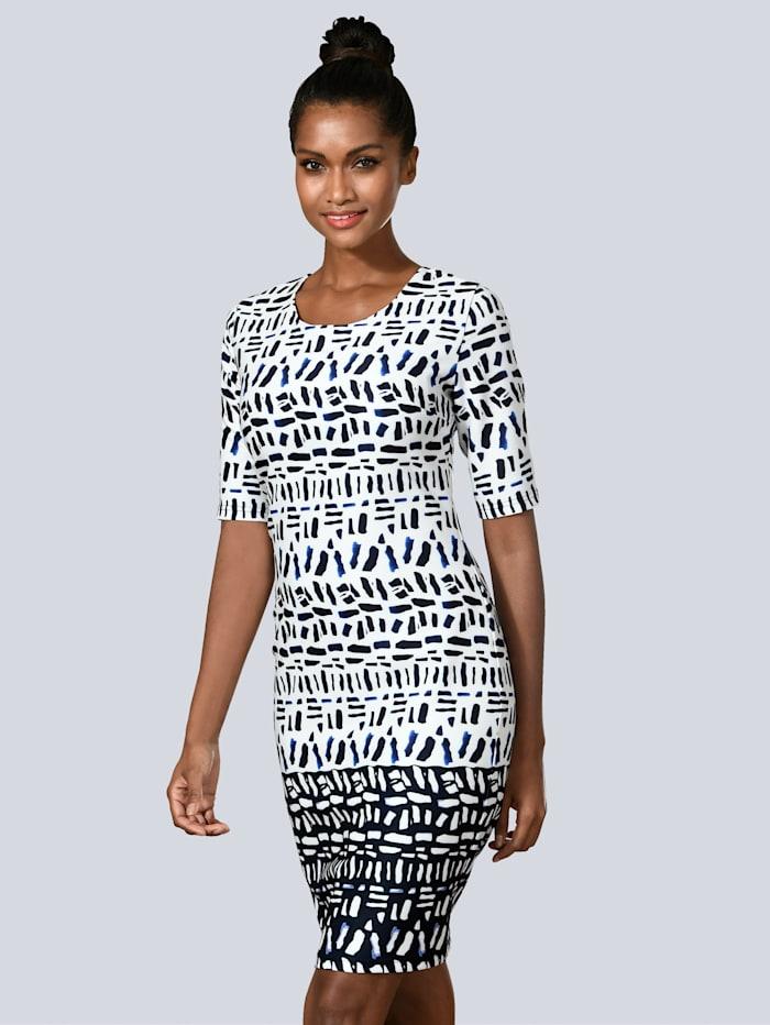 Alba Moda Kleid mit grafischem Dessin, Weiß/Marineblau