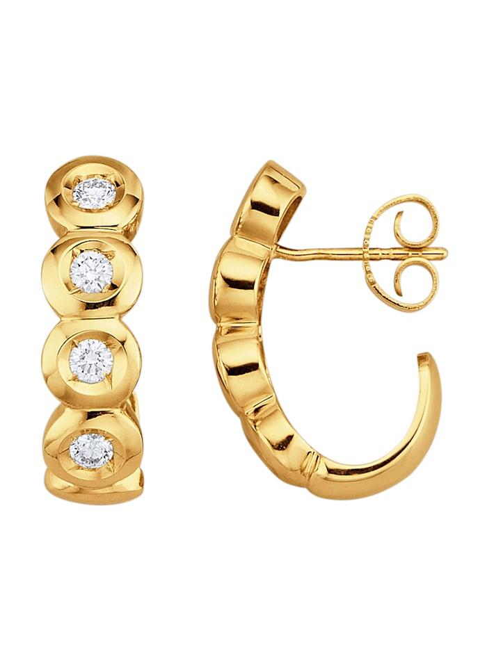 Amara Diamants Boucles d'oreilles avec brillants purs à la loupe, Blanc
