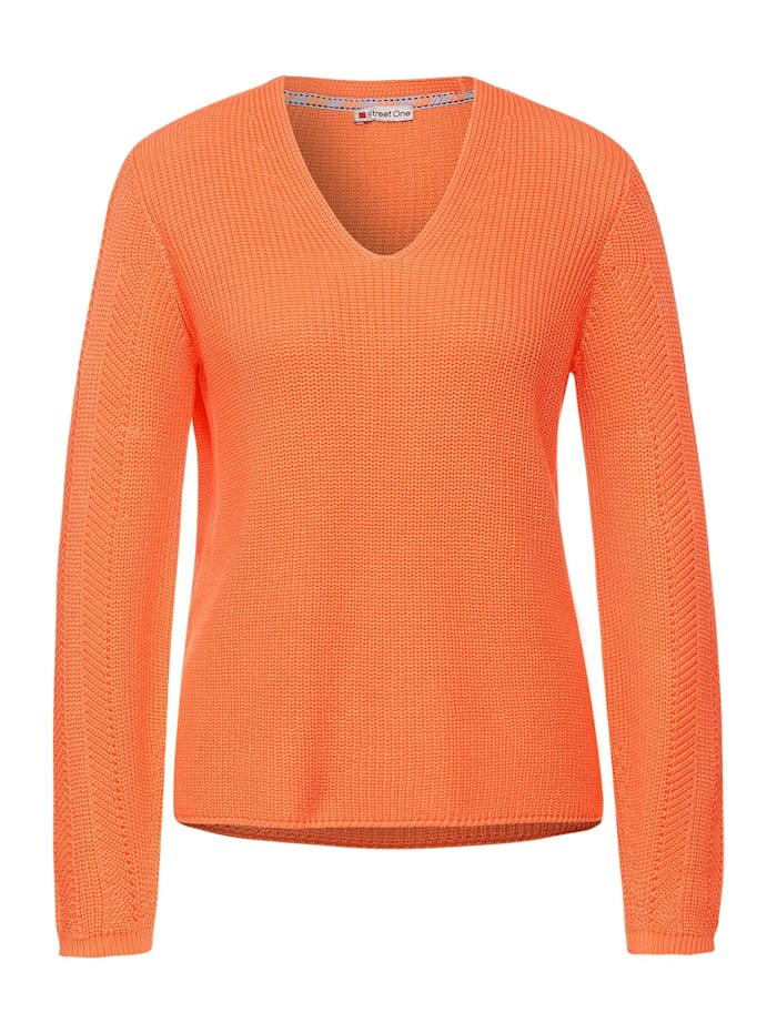 Street One Strick-Pullover in Uni, strong mandarine