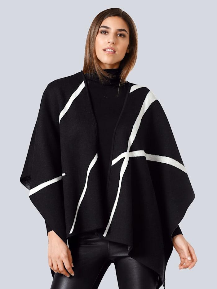 Alba Moda Svetr v módním střihu ponča, Černá/Bílá