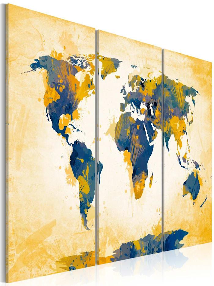 artgeist Wandbild Four corners of the World - triptych, Blau,Creme,Gelb