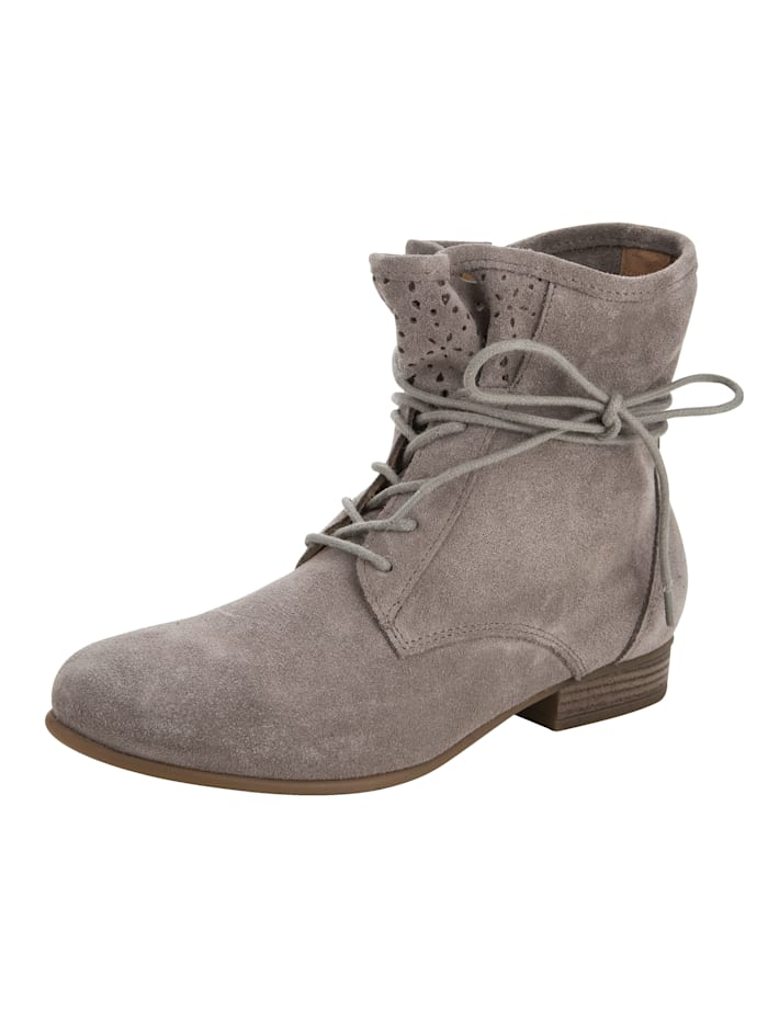 Lace-up Boots in a pretty perforated design, Grey