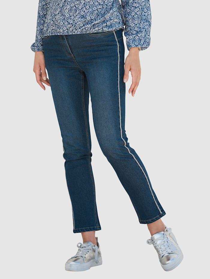 MONA Jeans med strass i siden, Mørkeblå