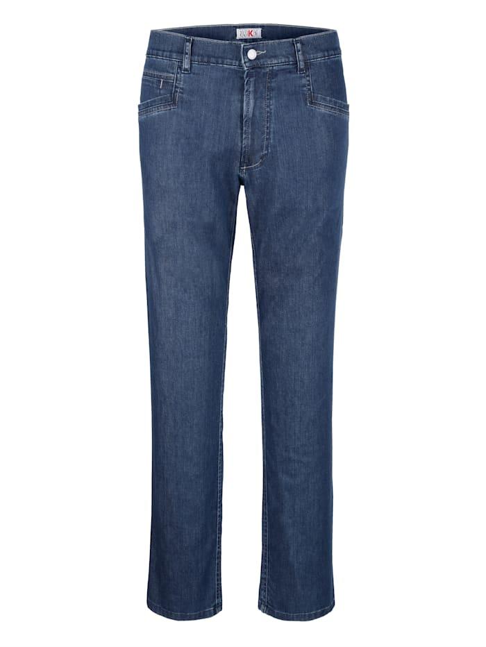 Roger Kent Jeans med kantiga fickor, Blue stone