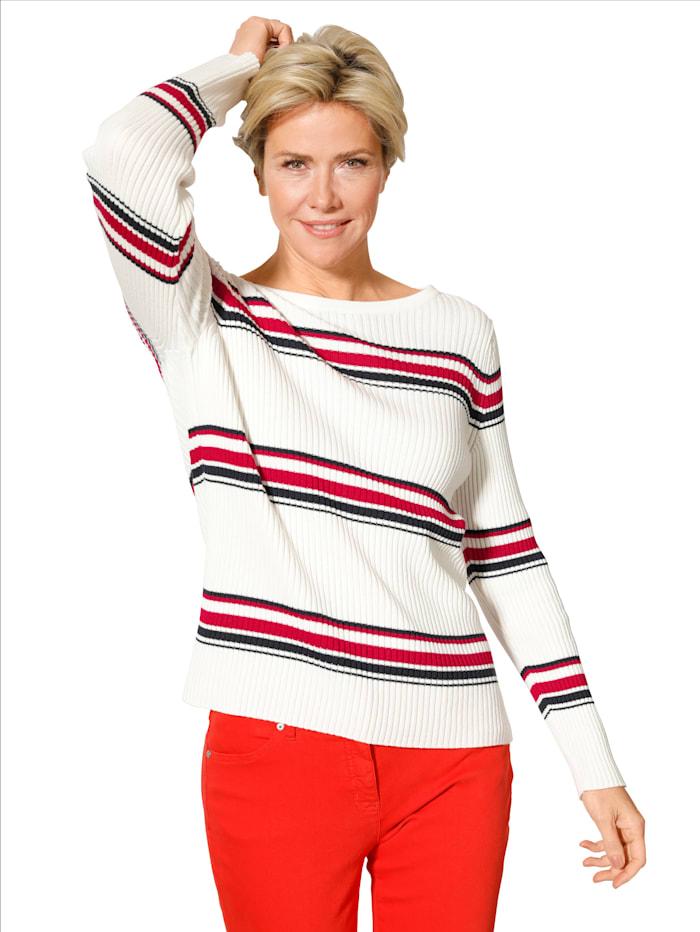 MONA Pullover im sportivem Ringeldessin, Weiß/Marineblau/Rot