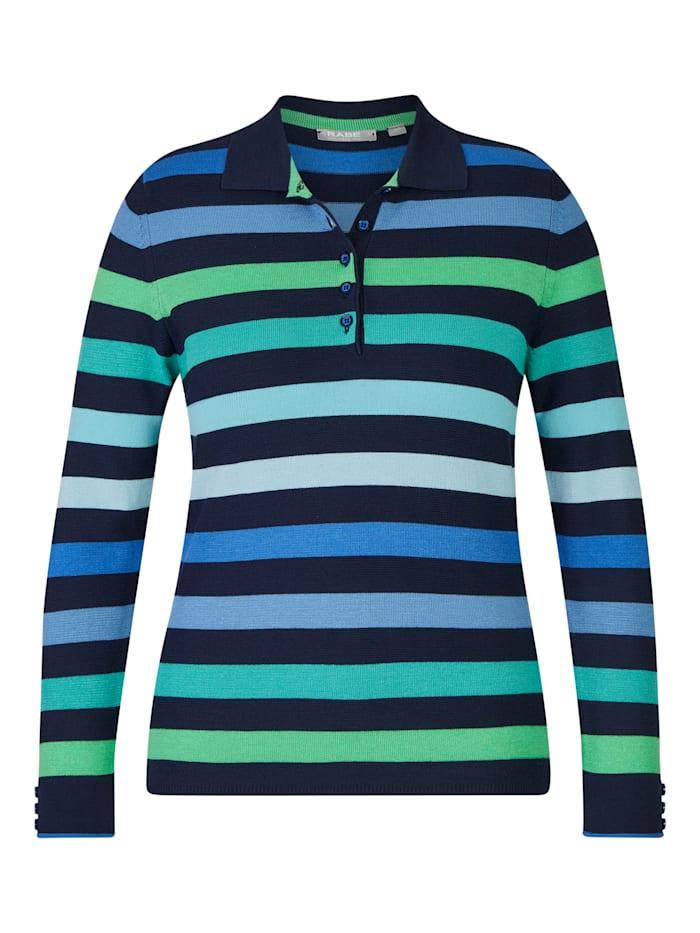 Rabe Pullover mit geringeltem Muster und Knopfleiste, MARINE