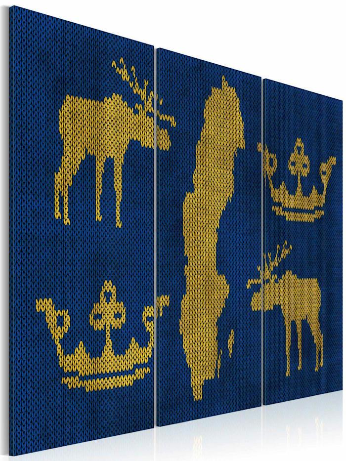 artgeist Wandbild Das Königreich Schweden - Triptychon, Blau,Gelb