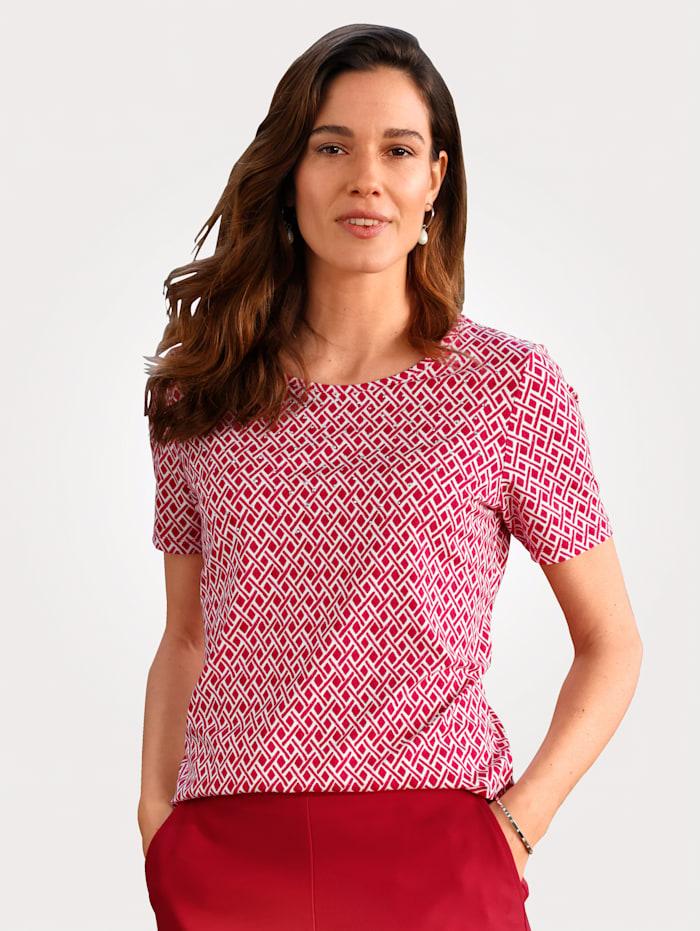 MONA Shirt met grafisch dessin, Rood/Wit
