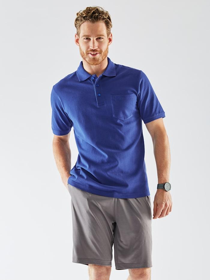 Men Plus Poloshirt aus reiner Baumwolle, Royalblau