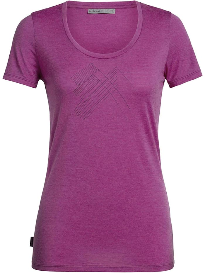 Icebreaker Icebreaker T-Shirt Tech Lite SS Scoop Snap Head, Pink